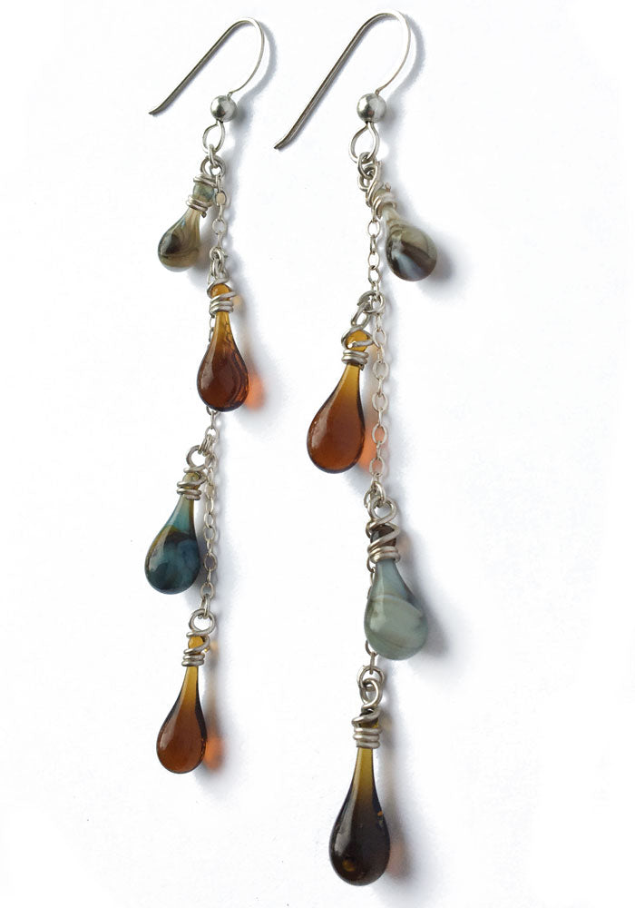 Brown Vinyas Earrings - glass Jewelry by Sundrop Jewelry
