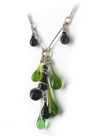 Green and Black Cluster Y-Necklace