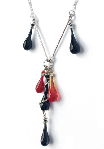 Black and Red Cluster Y-Necklace
