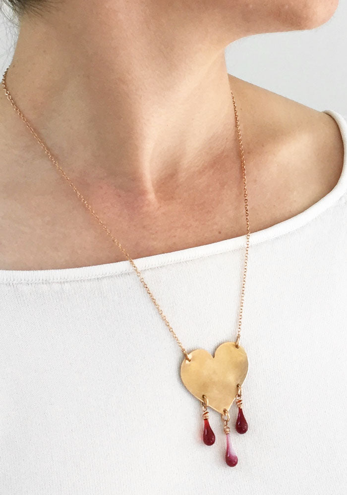 Bronze Heart Necklace - glass Necklace by Sundrop Jewelry