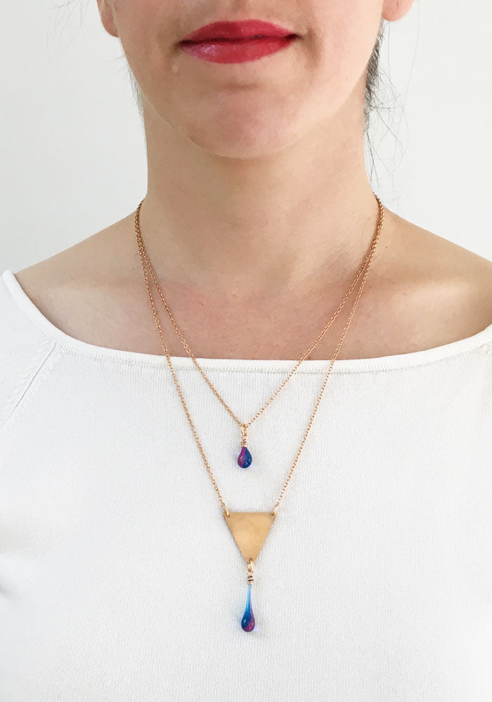 Bronze Layered Triangle Necklace - Morning Glory - glass Necklace by Sundrop Jewelry