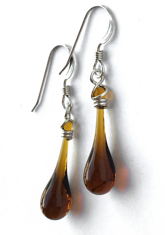 Brown Solaris Glass Earrings
