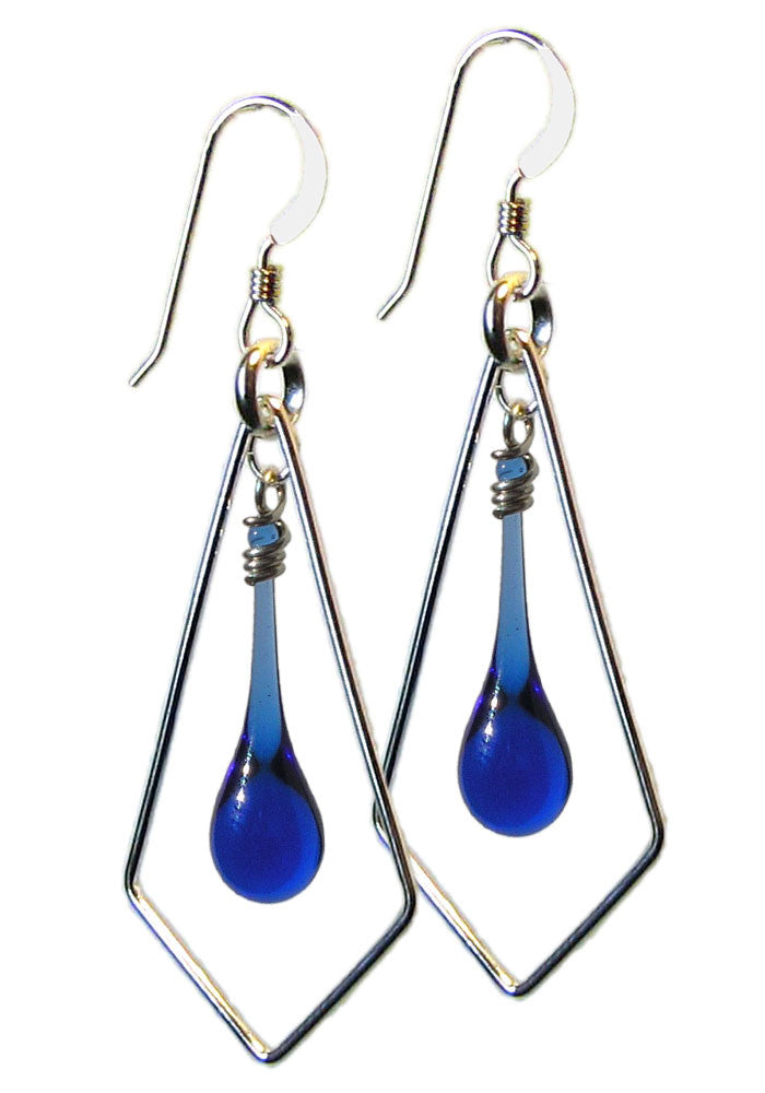 Recycled blue glass droplet earrings framed by recycled sterling silver geometric kites.  Handmade in the USA.