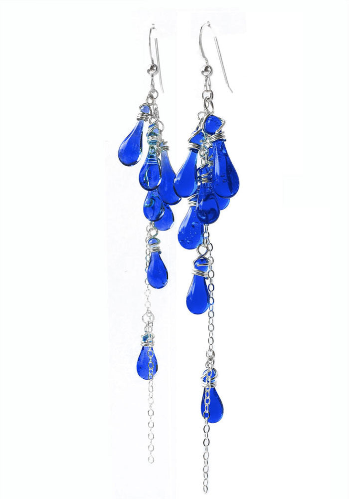 Cobalt Lanata Earrings - glass Earrings by Sundrop Jewelry