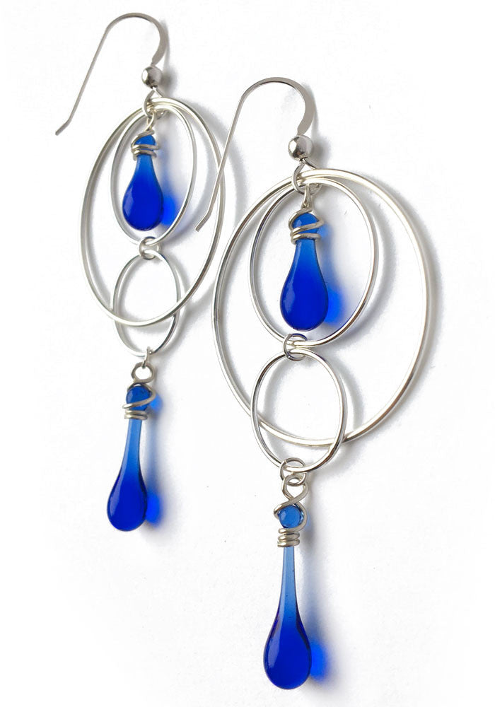 Orbital Motion Earrings, large - glass Earrings by Sundrop Jewelry