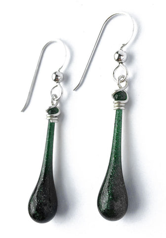 Dark Glittering Green Solaris Earrings