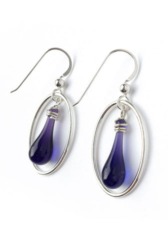 Dark Purple Cameo Earrings