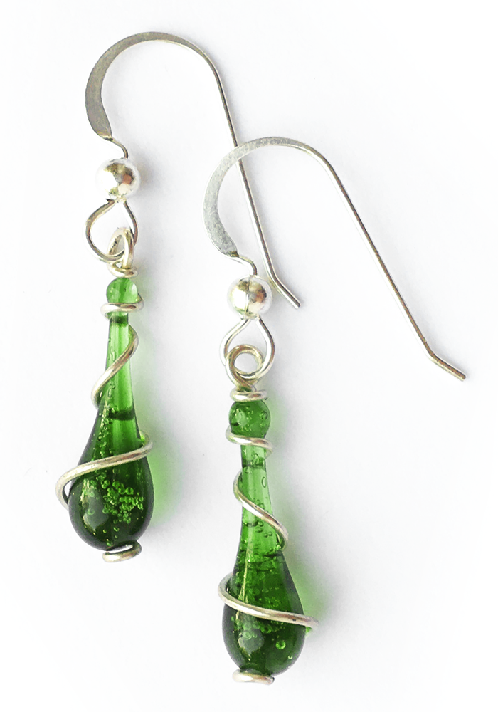 Short Emerald Spiral Earrings - glass Earrings by Sundrop Jewelry