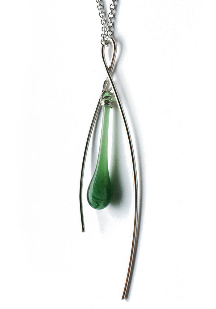 Fiddlehead Inner Spark Pendant - glass Necklace by Sundrop Jewelry