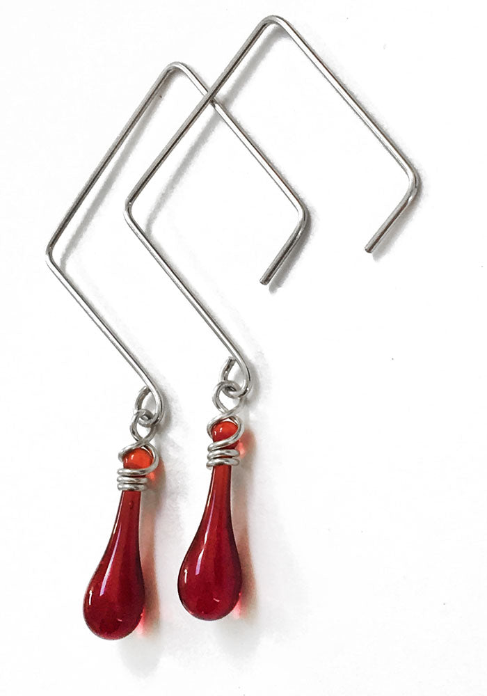 Square Earrings - glass Earrings by Sundrop Jewelry