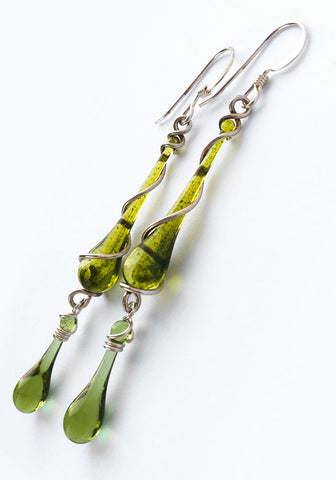 Glitter Green Bohemian Earrings