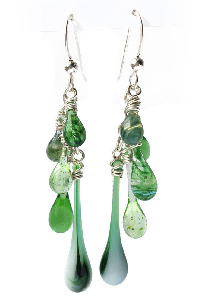 Mixed Greens Cascade Earrings