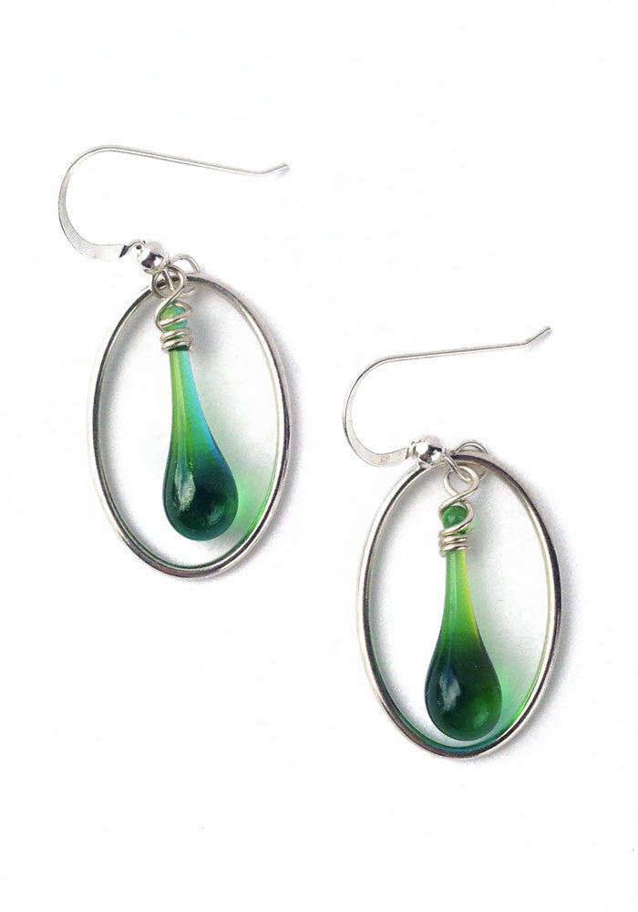 These two-tone blue and green glass droplet earrings always remind me of the changing colors of the sea.  Melted with sunshine focused through a giant magnifying glass.