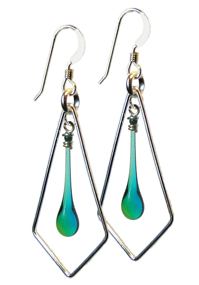 Green and blue glass teardrop earrings with recycled sterling silver geometric kite shape.  Melted by sunlight focused through a giant magnifying glass.