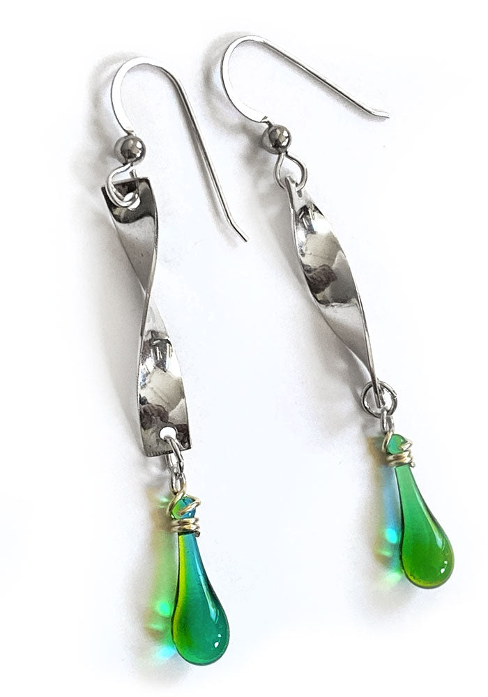 Twist Ribbon Earrings, Short - glass Earrings by Sundrop Jewelry