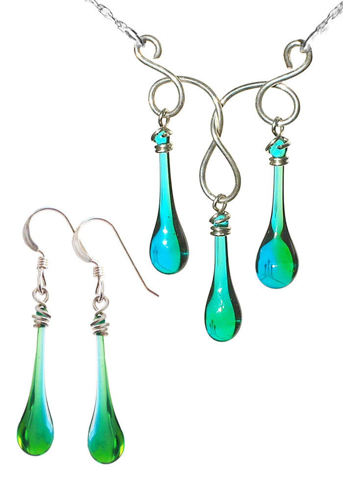 Blue and Green Glass Droplet Earrings and Triple Necklace, by Sundrop Jewelry