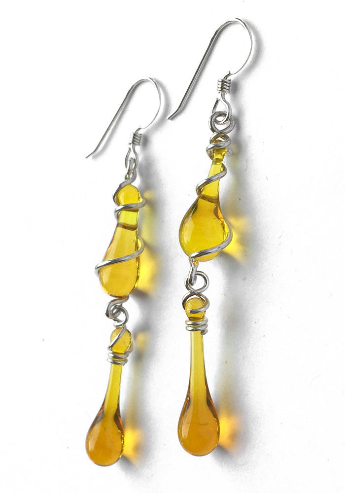 Honey Gemini Earrings - glass Jewelry by Sundrop Jewelry