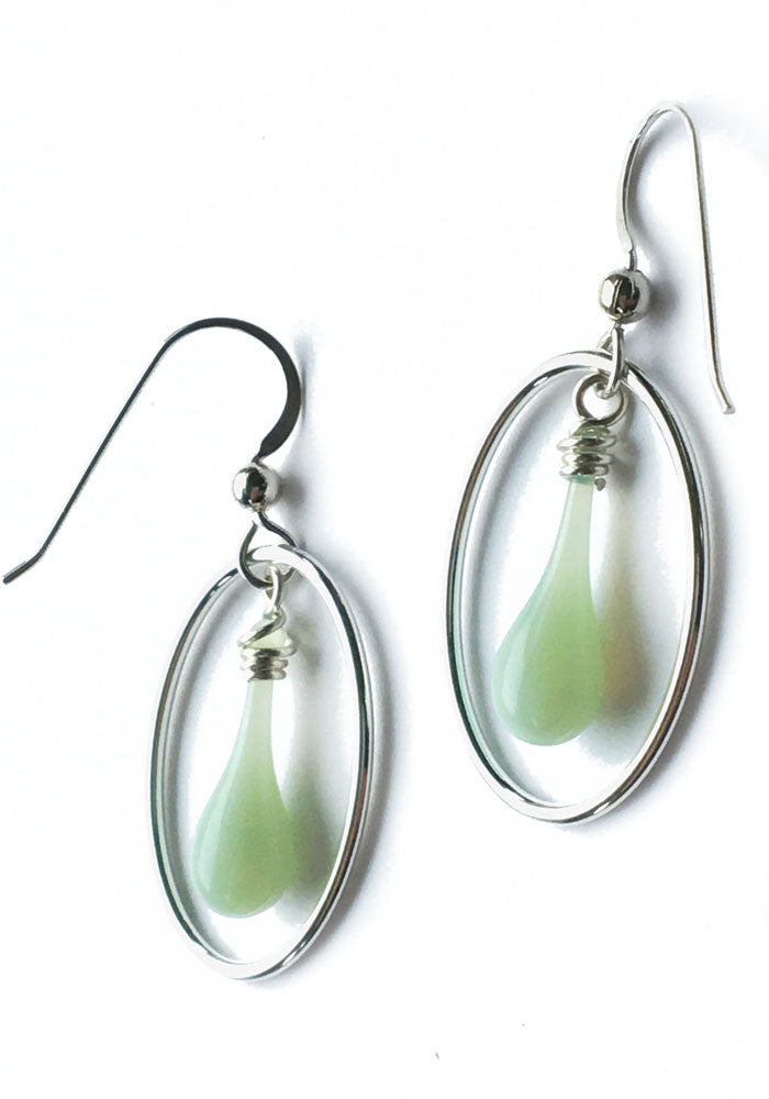 Jadeite Cameo Earrings - glass Earrings by Sundrop Jewelry