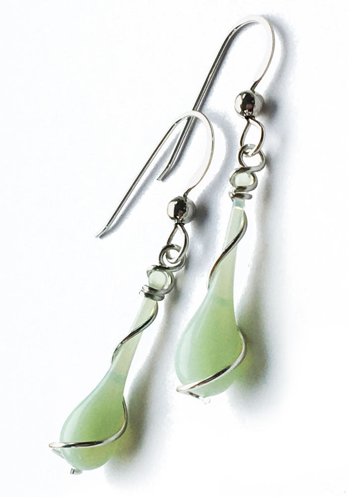 Jadeite Lyra Earrings - glass Jewelry by Sundrop Jewelry