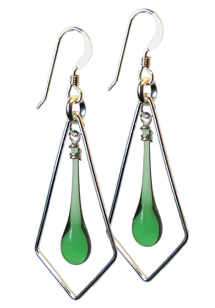 Silver Kite Earrings - glass Earrings by Sundrop Jewelry