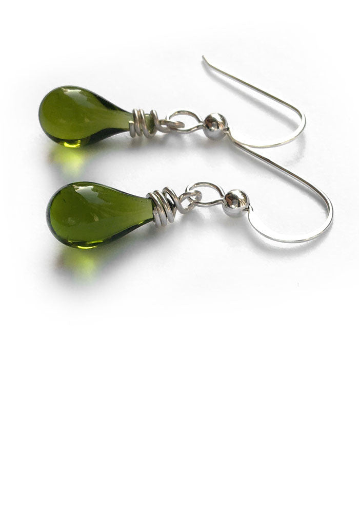 Dainty drop earrings in glass & recycled sterling silver
