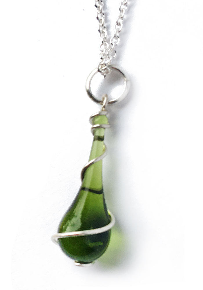 Olive Green Recycled Glass Pendant Necklace with Silver Spiral - glass Necklace by Sundrop Jewelry