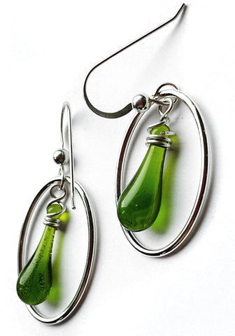 Mossy Swirl Cameo Earrings