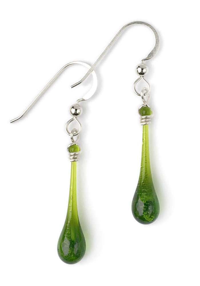 August's birthstone color - peridot olive-green glass earrings