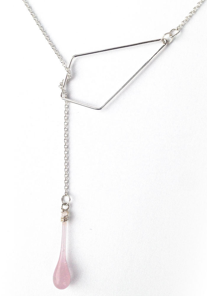 Pink glass droplet and recycled sterling silver pendant necklace