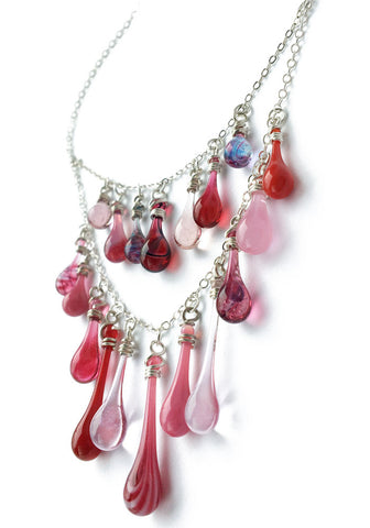 Pinks and Purples Waterfall Necklace