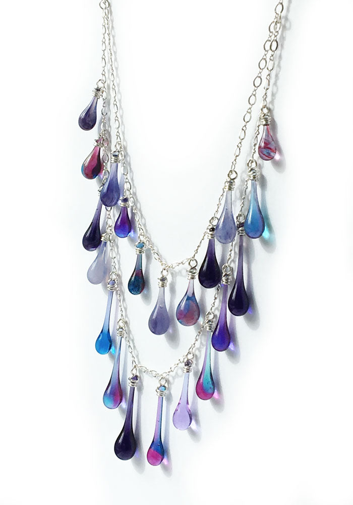 Purple Waterfall Necklace - glass Necklace by Sundrop Jewelry