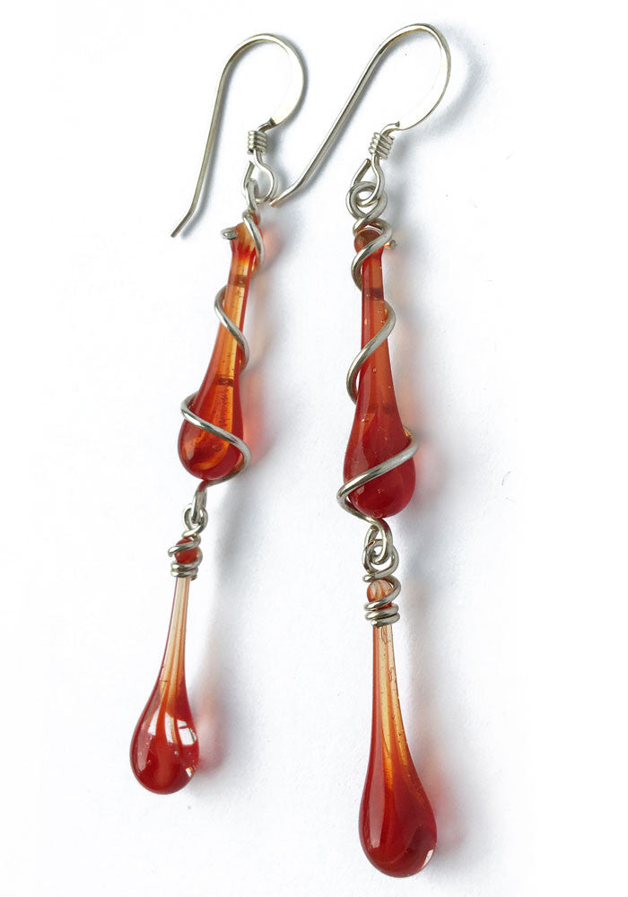 Ruby Swirl Gemini Earrings - glass Jewelry by Sundrop Jewelry
