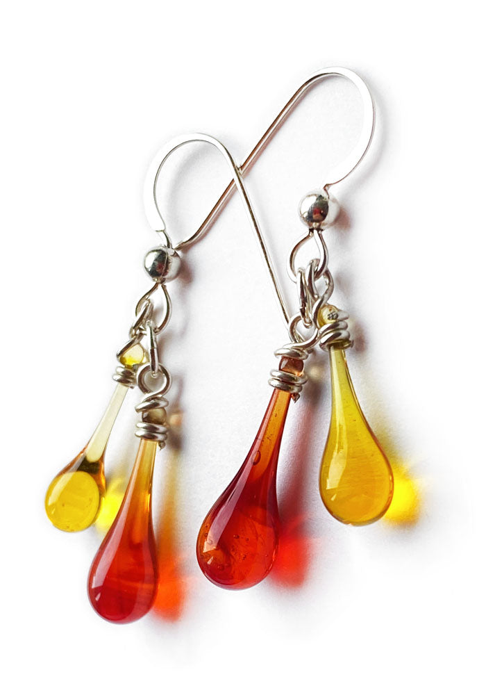 Firelight Chime Earrings - glass Jewelry by Sundrop Jewelry