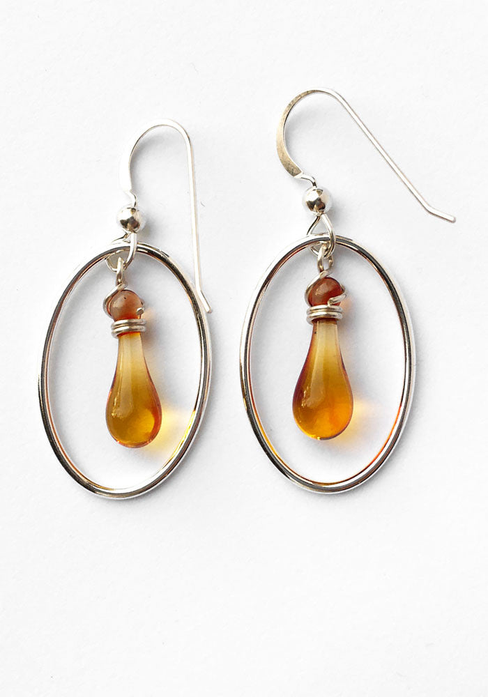 Topaz Cameo Earrings - glass Jewelry by Sundrop Jewelry