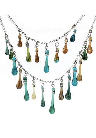 Turquoise and Brown Waterfall Necklace