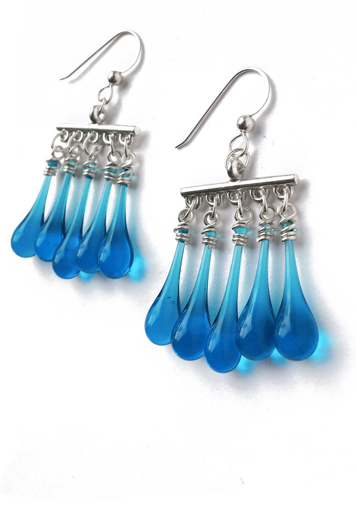 Turquiose Fringe Earrings - glass Jewelry by Sundrop Jewelry