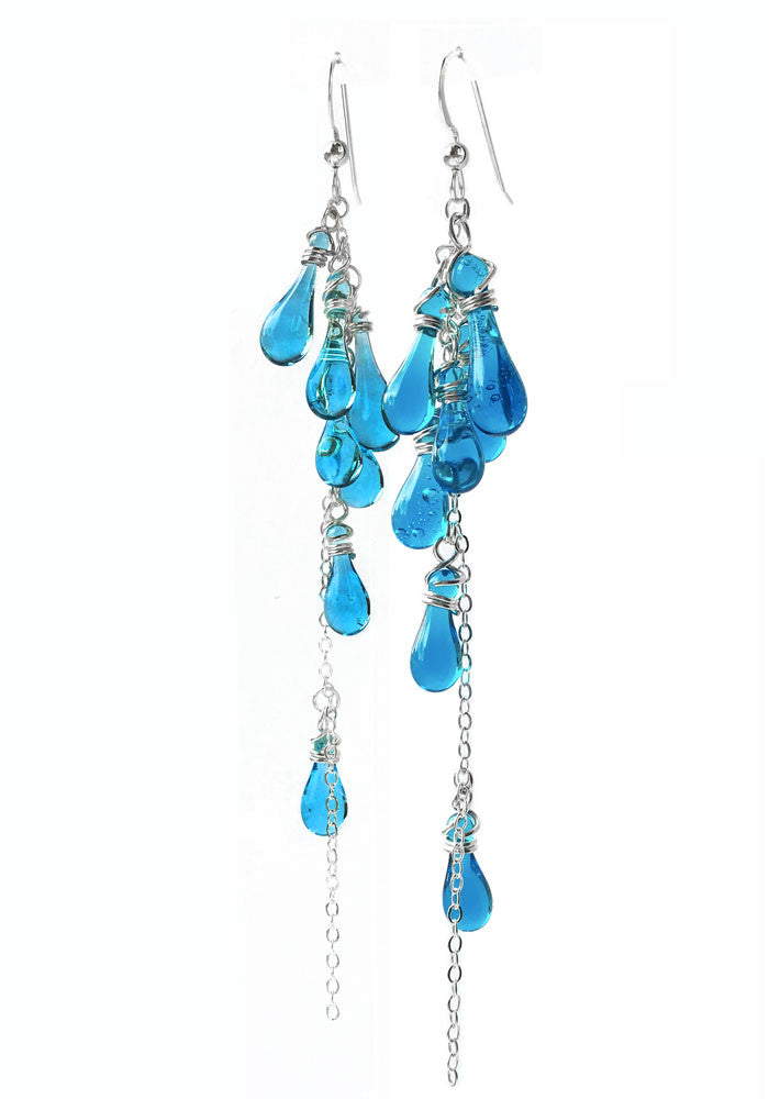 Turquoise Lanata Earrings - glass Earrings by Sundrop Jewelry