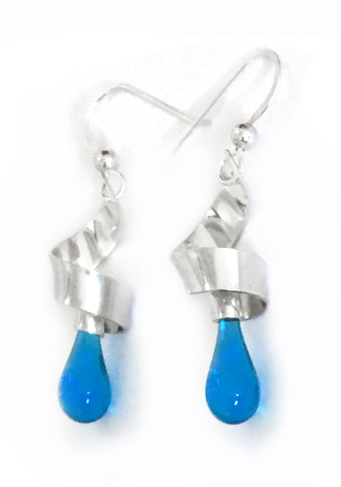 Ribbon Earrings, Short - glass Earrings by Sundrop Jewelry
