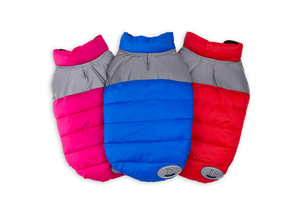 "PAWSH PADS VELCRO PUFFIES - REVERSIBLE ""2 COATS IN 1"" with REFLECTIVE GREY NYLON SHOULDER PANEL"