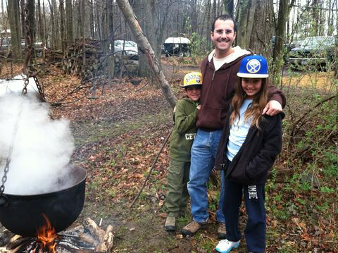 My kids when they were younger (and hubby) cooking down maple syrup
