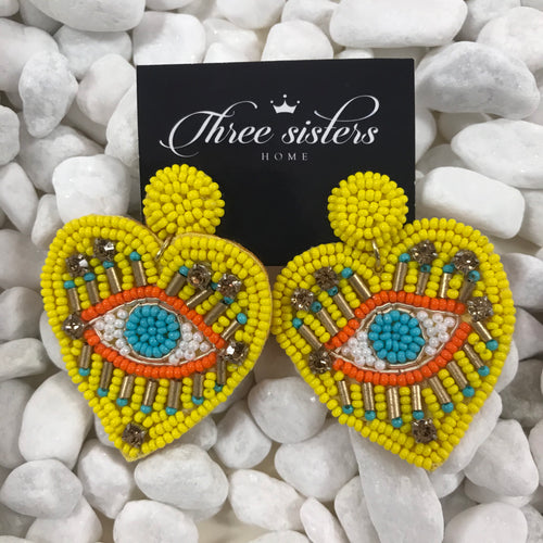 Yellow evil eye earrings