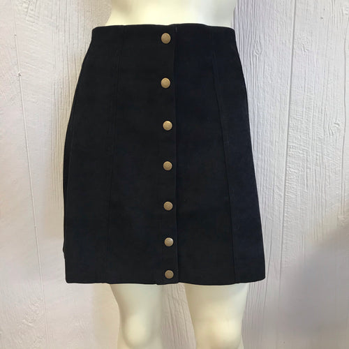 Black twill snap flare skirt