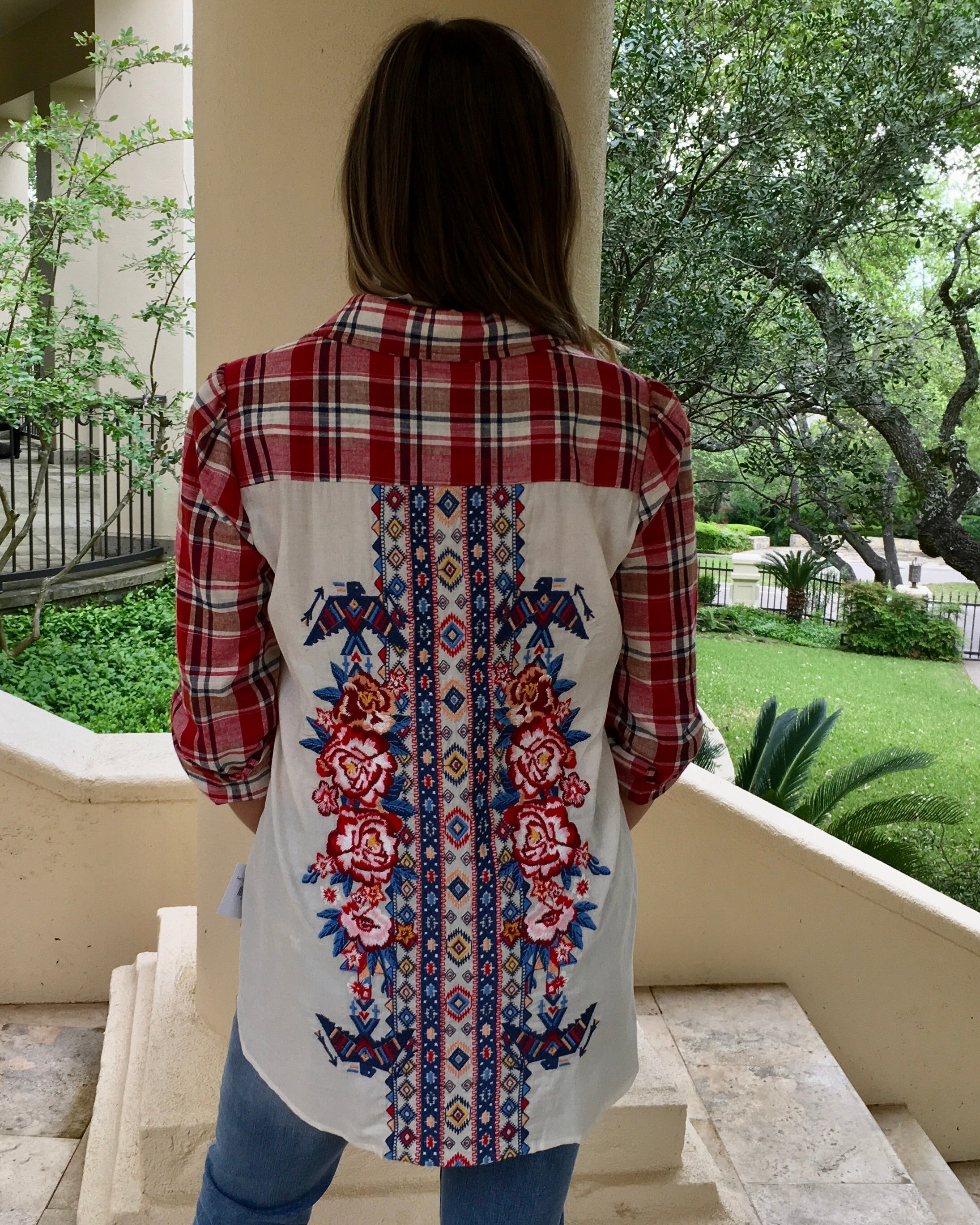 Red plaid embroidered top