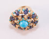 Fabulous impressive Sapphire & Turquoise French Ring 18 ct 1950 - Katheleys for Unique Vintage Luxury
