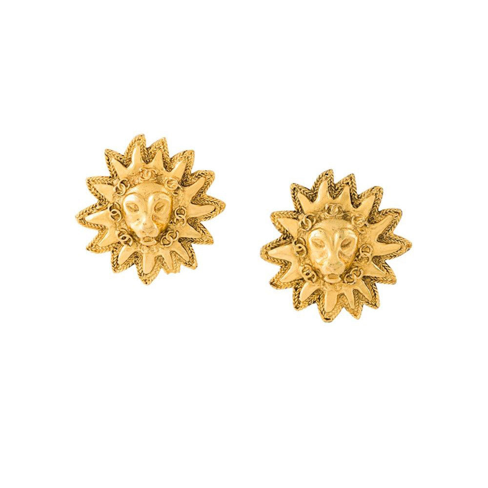 Rare Chanel vintage lion earrings c.1980