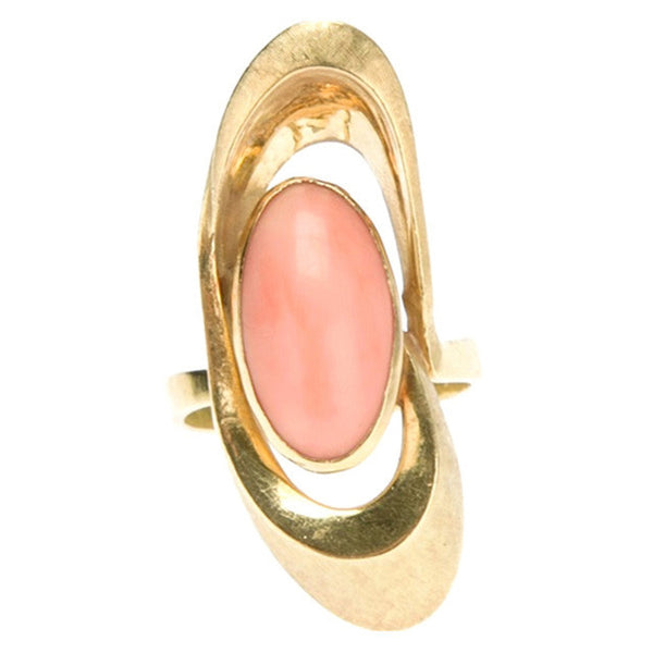 Italian vintage Angel Skin Coral Gold 18kt Ring 1970