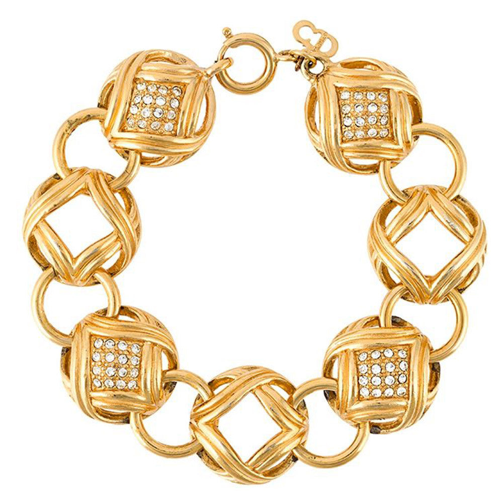 Glam Dior vintage crystal balls bracelet c.1990 - Katheleys for Unique Vintage Luxury