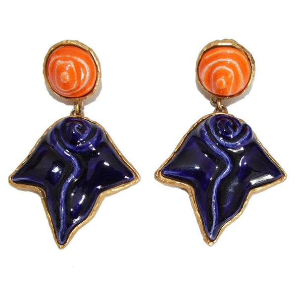 Gorgeous French Dominique Denaive Ceramic earrings c.1980 - Katheleys for Unique Vintage Luxury