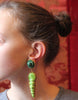Dominique Denaive Green Shell Ceramic vintage earrings 80s - Katheleys for Unique Vintage Luxury