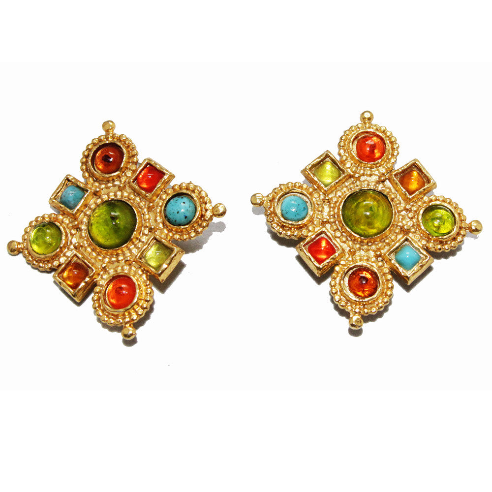 Colorful Edouard Rambaud french vintage byzantine earrings 80s collector